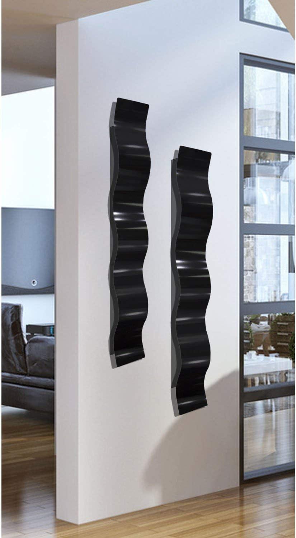 SET OF TWO Black 3D Abstract Metal Wall Art Sculpture Wave - Modern Home Décor by Jon Allen - 46.5