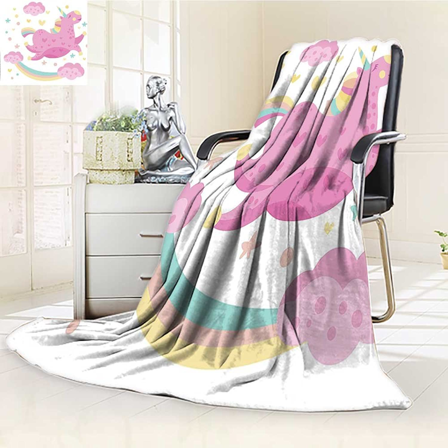 YOYI-HOME Throw Duplex Printed Blanket Girly Chubby Legendary Smiley Unicorn with Star Rainbow Funny Kids Room Nursery Pink Yellow Warm Microfiber All Season Blanket for Bed or Couch  W59 x H39.5