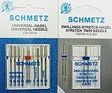 Juego de agujas Schmetz, 1 aguja doble elástica y 9 agujas elásticas/jeans/universal/obligatorio. Sistema 130/705.