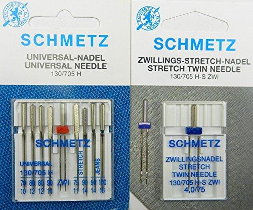 Schmetz Aguja Surtido 1x Stretch Twin Gemelos Aguja y 9agujas Stretch/Jeans/Universal/ZW. Sistema/130/705