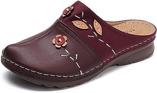 gracosy Träskor för kvinnor sommar dra på loafers platta vintage trädgård mulor komfort rygglösa sandaler bred passform an...