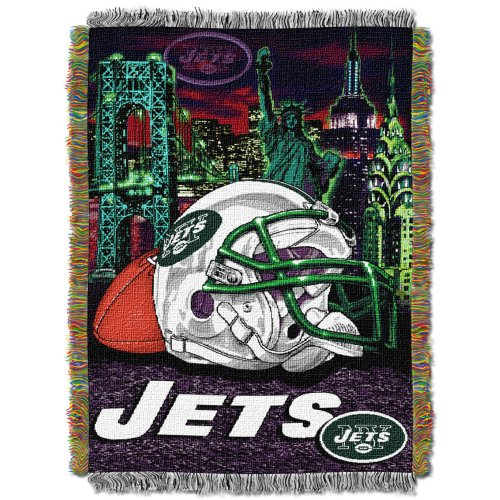 The Northwest Company Officially Licensed NFL New York Jets Home Field Advantage Woven Tapestry Throw Blanket, 48