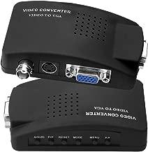 SIENOC S-Video/BNC VGA to VGA Video PC Converter Adapter with BNC + 4 Pin S-video Color Black