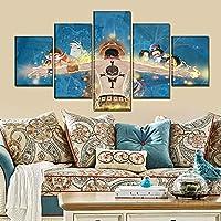 5ピースウォールアートキャンバスアニメマンガ海賊王フィギュア写真とポスター家の装飾モダンなリビングルームの装飾絵画フレームなし