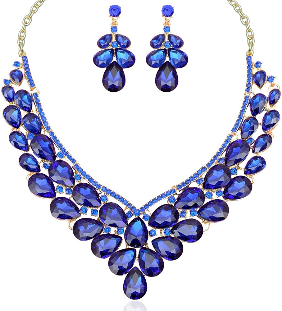 CSY Women's Austrian Crystal Teardrop Cluster Statement Necklace Dangle Earrings Wedding Bridal Costume Jewelry Set Accessories