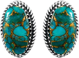 Turquoise Earrings 925 Sterling Silver & Genuine Copper-Infused Matrix Turquoise (Select style)