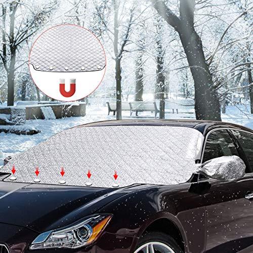 SanGlory Frontscheiben Abdeckung Windschutzscheibe Auto Frontscheibenabdeckung Winter Magnetisch Frostabdeckung Sonnenschutz Scheibenabdeckung Wasserdicht(157x126cm)