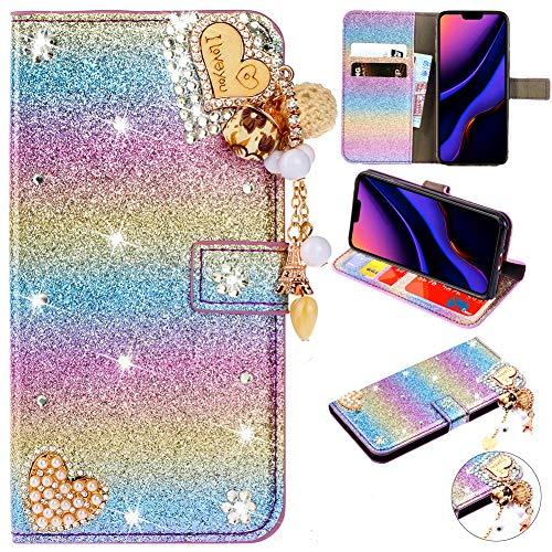 Modisch Slim Retro Ledertasche für iPhone 11 Pro,Bling Glitter Glitzer Diamond Love Hearts Musterg Bookstyle Stand Funktion Karteneinschub Magnetverschluss Flip Wallet Hülle Schutzhülle