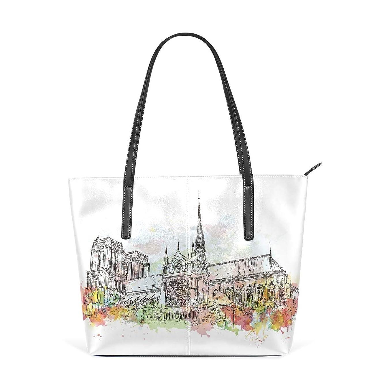 Tarity Women Leather Tote Handbag Watercolor Notre-Dame De Paris France Fashion Casual Handle Bag Crossbody Shoulder Bag Purse Large Capacity Durable For Shopping Laptop School Books Travel Beach