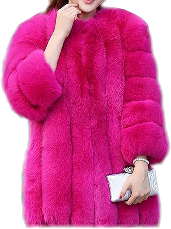 Generic Women Solid color Thick Luxury Winter Long Fox Faux Fur Coat Jacket