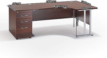 Walnut Cantilever Office Desk With Mobile Pedestal Bundle