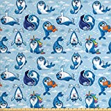 Ambesonne Sea Animals Fabric by The Yard, Seal Pup Cartoon Aquatic Wildlife Friendly Hugging Water Bubbles Kids, Decorative Fabric for Upholstery and Home Accents, 2 Yards, Marigold White
