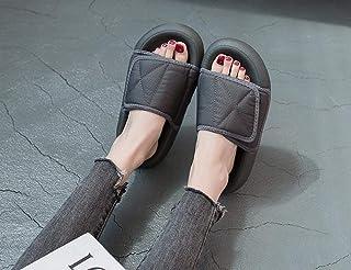 B/H Été Anti-Dérapage Pantoufle,Couple Sandales Velcro et Chaussons.Chaussons de Plage à Semelles épaisses en Pain Gras-G...