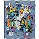 Indie Cotton Blanket, Group of Funky Monsters Society Different Expressions Abstract Groovy Doodle Style DIY Blanket, Machine Washable and Dryable, Multicolor W60 by L80(to Figure Custom)