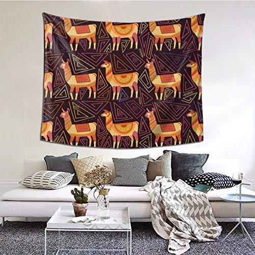 kThrones Tapiz de Pared,Lama and Abstract Geometry Tapestry (Colgante de Pared) Decoración de Pared Mural del hogar para Dormitorio Sala de Estar 152cmx130cm