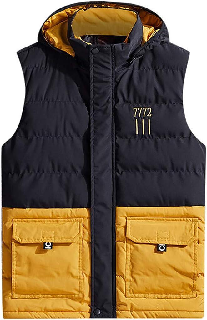 LISTHA Padded Cotton Vest Jacket Mens Hooded Thick Coat Warm Zipper Vest Tops