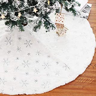 xoyo Silver Sequin Snowflakes Christmas Tree Skirt 48 inch White Faux Fur Tree Skirt, Large Luxury Embroidered Furry Christmas Decoration (Silver Sequin Snowflakes)