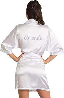 Women's Personalized Name, Custom Titles or Phrases Satin Robe with Vinyl Print-Bride & Bridesmaid Kimono Robe