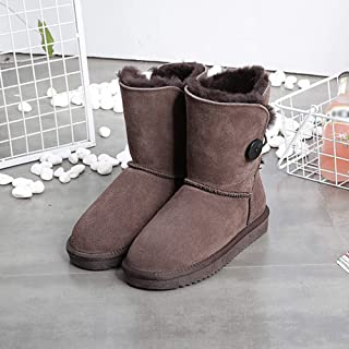 Women's Snow Boots Real Leather Natural Fur Winter Boots Womens Warm Shoes