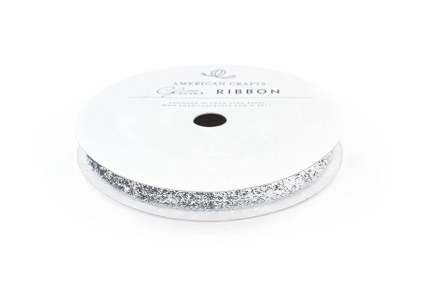 American Crafts Tinsel Glitter Ribbon Strips, 3/8-Inch, Solid Silver