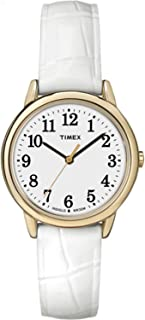 Timex Womens Easy Reader White Leather Strap Dial Gold-Tone Case Watch TW2P68900