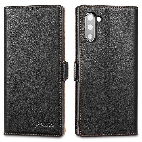 """Jenuos Cover Samsung Note 10, Vera Pelle Flip Libro Custodia a Portafoglio Folio Telefono con Magnetica Chiusa per Samsung Galaxy Note 10 6,3"""" - Nero (N10-DK-BK)"""