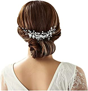 Campsis Bride Hair Comb Crystal Pearl Wedding Headpiece Decorative Bridal Hair Accessories for Women and Girls