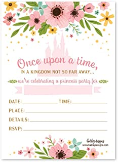25 Floral Princess Party Invitation, Faux Glitter Royal Queen Little Girl Birthday Invite, Enchanted Kids Castle Pink and Gold Themed Bday Supply Idea, Fairytale Printed or Fill in The Blank Card