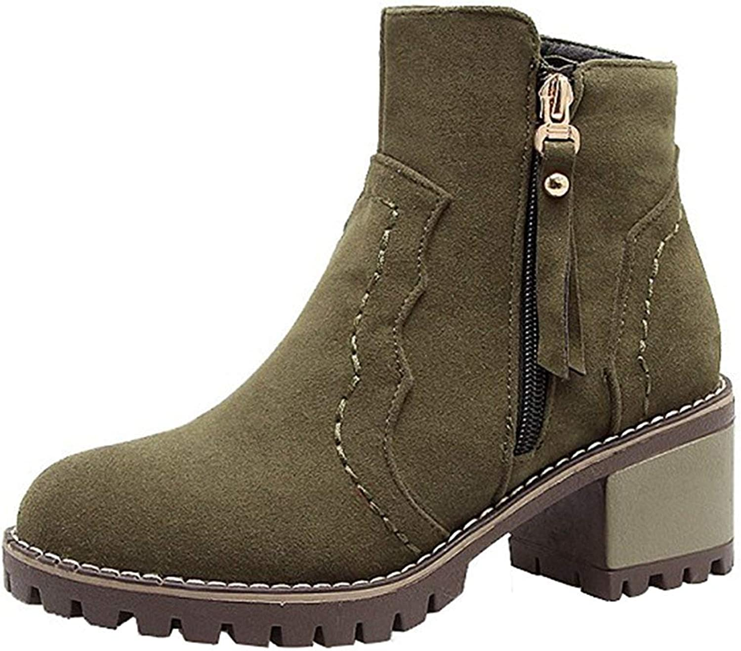Gcanwea Women's Trendy Faux Suede Round Toe Side Zipper Ankle Booties shoes Block Medium Heel Short Boots Ladies Casual Skinny Joker Dress Easy to Match Green 6.5 M US Short Boots