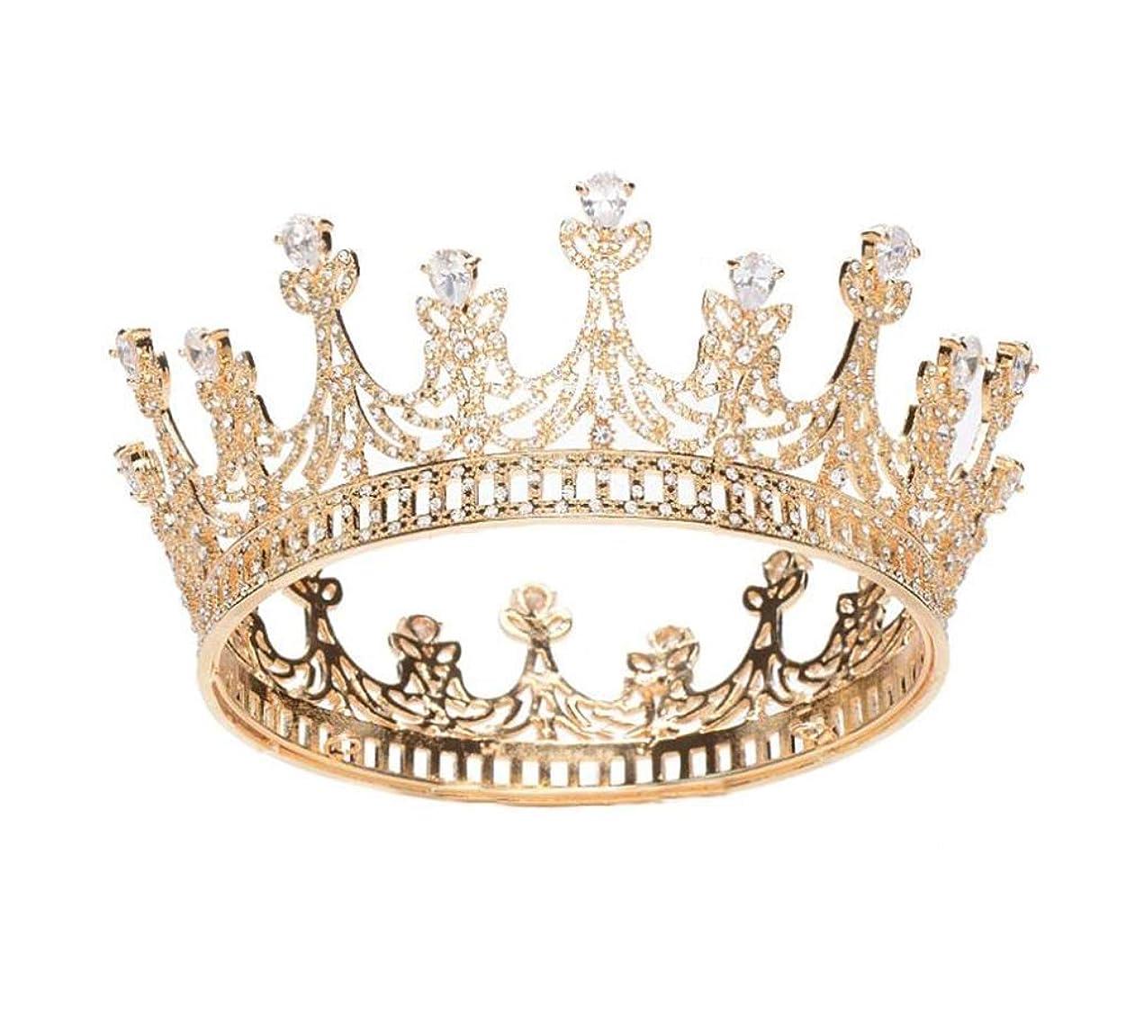 いっぱいマウス保険花嫁の王冠バロックAAAジルコンラウンドクラウンフルサークルクラウン高貴なブライダルティアラヘアアクセサリー (色 : A)
