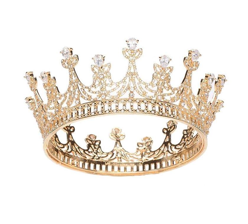 公式姉妹手書き花嫁の王冠バロックAAAジルコンラウンドクラウンフルサークルクラウン高貴なブライダルティアラヘアアクセサリー (色 : A)