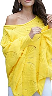 Women Batwing Sleeve Pullover Baggy Hollow Knitted Sweater Jumper Tops
