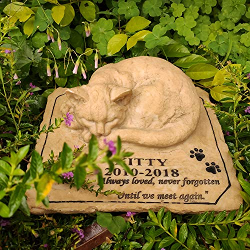 MARYTUMM Personalized Cat Memorial Stone by Waterproof Resin, Custom Pet Stone Markers for Cat 3D Style