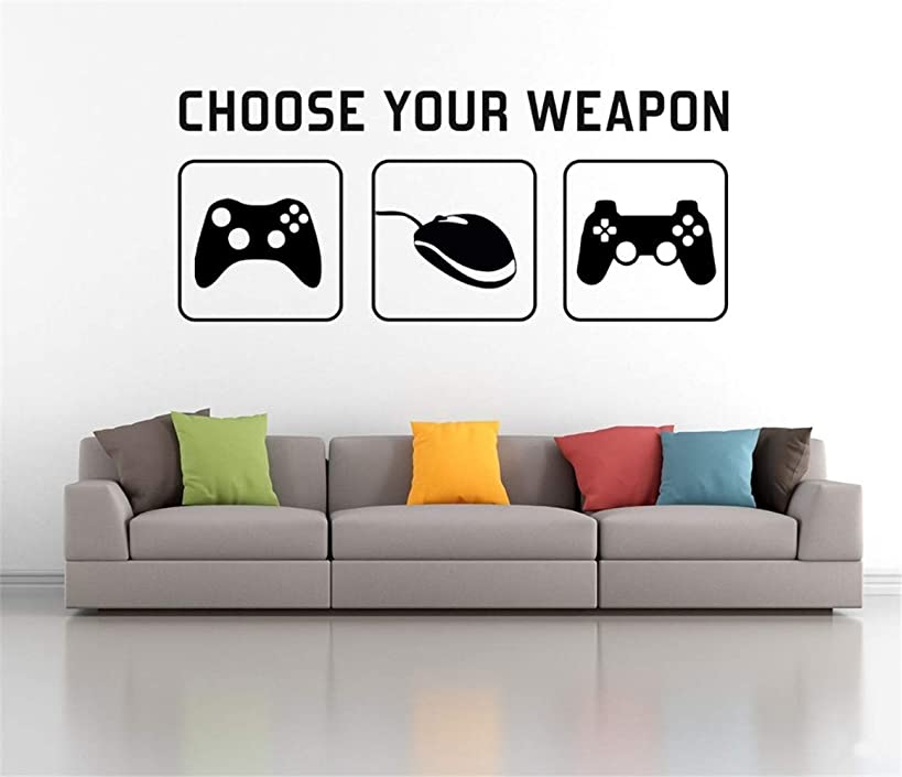 Uyeai DIY Removable Vinyl Decal Mural Letter Wall Sticker Choose Your Weapon Gaming Sticker Video Game Xbox Playstation Home Decor