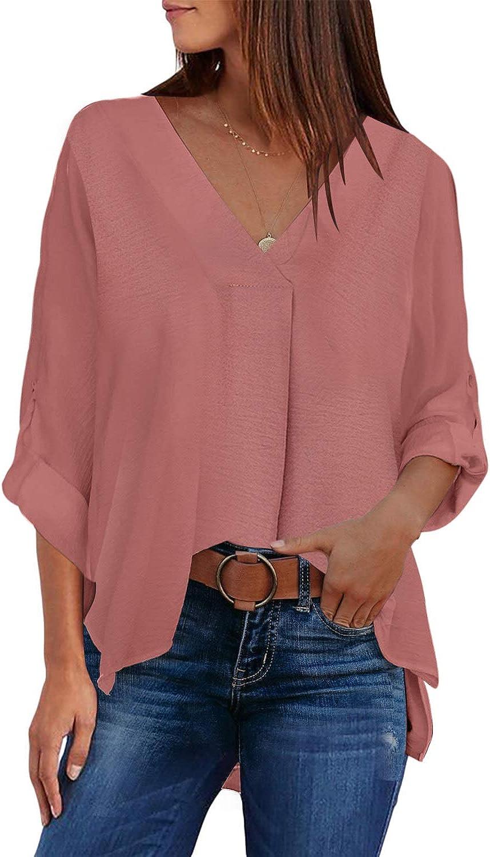 Aleumdr Womens V-Neck Bell Sleeve High Low Tunic Tops Chiffon T-Shirt Blouse