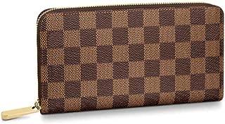 Fedciory Women's Checkered Zip Around Wallet, Ladies Purse - Brown
