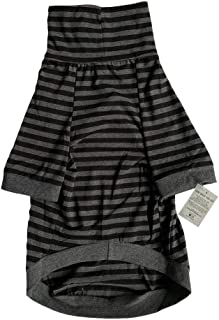 Tooth & Honey Big Dog/Stripe Shirt/Pullover/Full Belly Coverage/for Big Dogs/Pitbull Shirt/Black & Grey