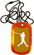 Baseball Dog Tag Necklace - Custom Engraved Personalized Colored Anodized Aluminum Necklace