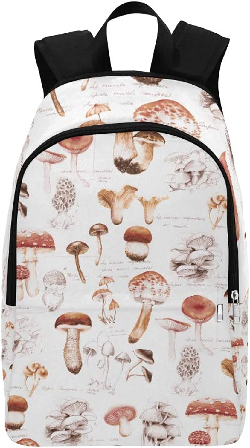 Fresh Mushrooms Watercolor Paint Casual Daypack Travel Bag College School Backpack for Mens and Women
