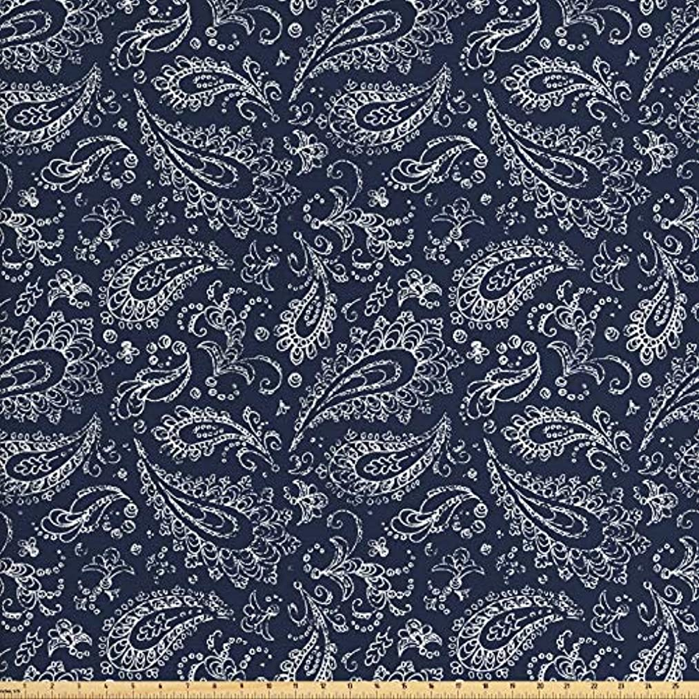 Ambesonne Paisley Fabric by The Yard, Vintage Ornament Bohemian Motifs with Grunge Look Hand Drawn Style Pattern, Decorative Fabric for Upholstery and Home Accents, 3 Yards, Dark Blue and White