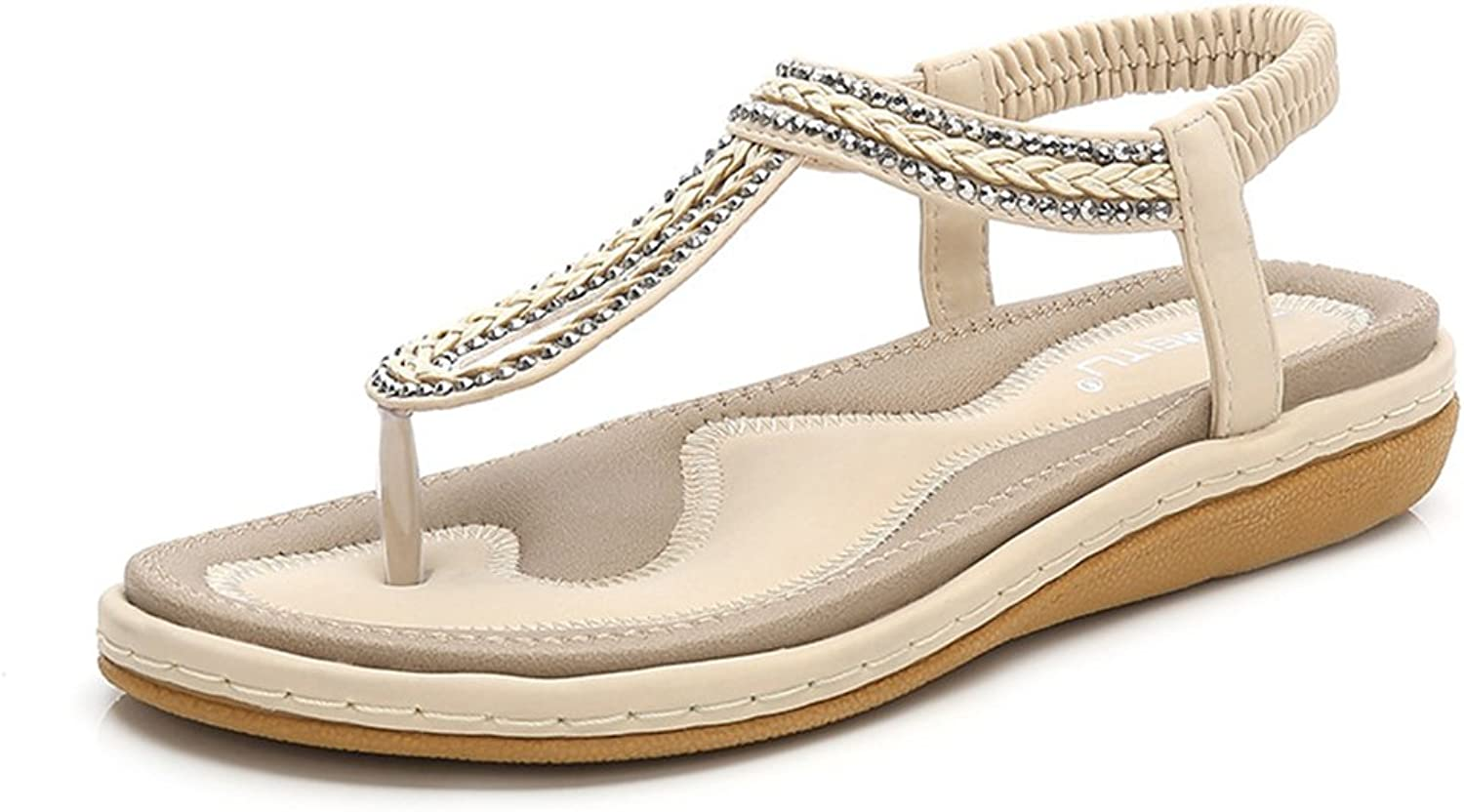 Navoku Womens Leather Jeweled Summer Thong Sandles Ladies Sandals