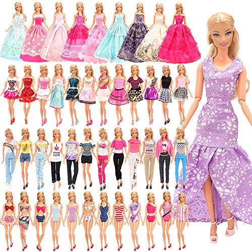 Miunana 21 Kleidungsstücke für Puppen = 5 Kleider + 5 Tops + 5 Hosen/Röcke + 3 Abendkleider + 3 Badenanzüge für 11,5 Zoll Mädchen Puppen