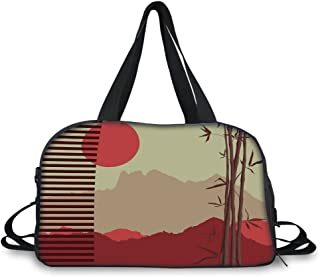 Travelling Bag,Bamboo,Modern Artwork with Japanese Bamboos and Mountain Silhouette Sun Boho Image,Red Yellow Brown ,Personalized