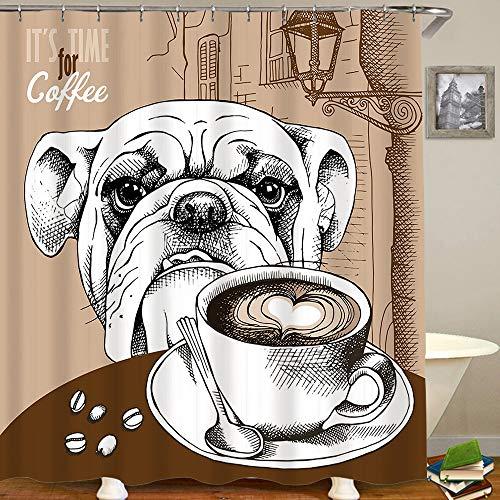 Polyester Duschvorhang Set mit 12 Kunststoffhaken,Brown Bulldog Cup Kaffee H& Tiere Old Cappuccino Wildlife Food Drink Restaurant Hot Bean Frühstück,Dekorative wasserdichte Badvorhänge 72x84 Zoll