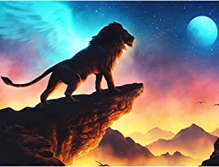 Yomiie 5D Diamond Painting Hilltop Lion Full Drill by Number Kits for Adults, Moonlight Wigs Lion Paint with Diamonds Arts Rhinestone Embroidery DIY Craft Decorations 30x40 cm (12x16inch)