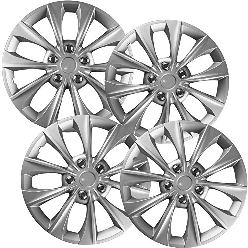 16 inch Hubcaps Best for 2014-2016 Toyota Camry - (Set of 4) Wheel Covers 16in Hub Caps SIlver Rim Cover - Car Accessories for 16 inch Wheels - Snap On Hubcap, Auto Tire Replacement Exterior Cap