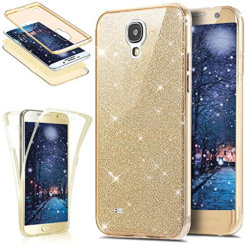 Coque Galaxy S4,Étui Galaxy S4,Galaxy S4 Case,Intégral 360 Degres avant + arrière Full Body Protection Bling Brillant Glitter Transparent Silicone Gel Case Coque Housse Etui pour Galaxy S4 i9500,Or