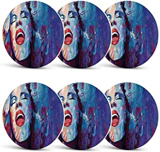 Jazz Music Unique Coasters,Illustration of Singer on Grunge Background Performing Singing Woman Image for Coffee Shop & BarSet of 6