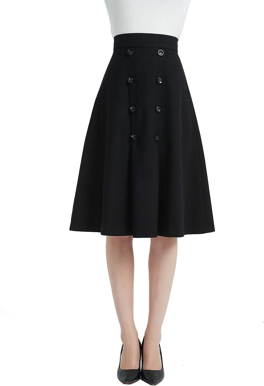 Tronjori Womens High Waist A Line Button Front Winter Fall Midi Skirt