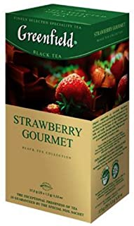 Greenfield Schwarztee Strawberry Gourmet 3er Pack 3 x 25 Teebeutel  Tee black Tea